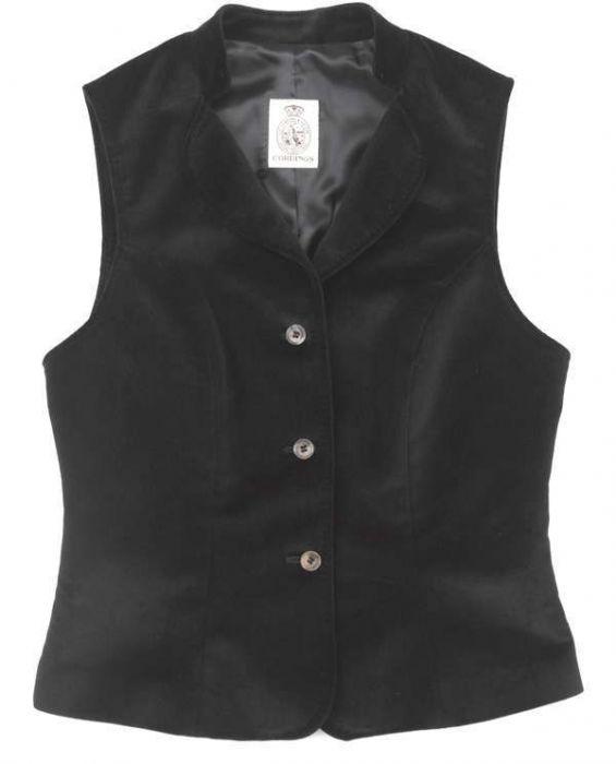 Black Fitted Velvet Waistcoat
