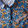 Blue and Mustard Spot Cotton Shirt
