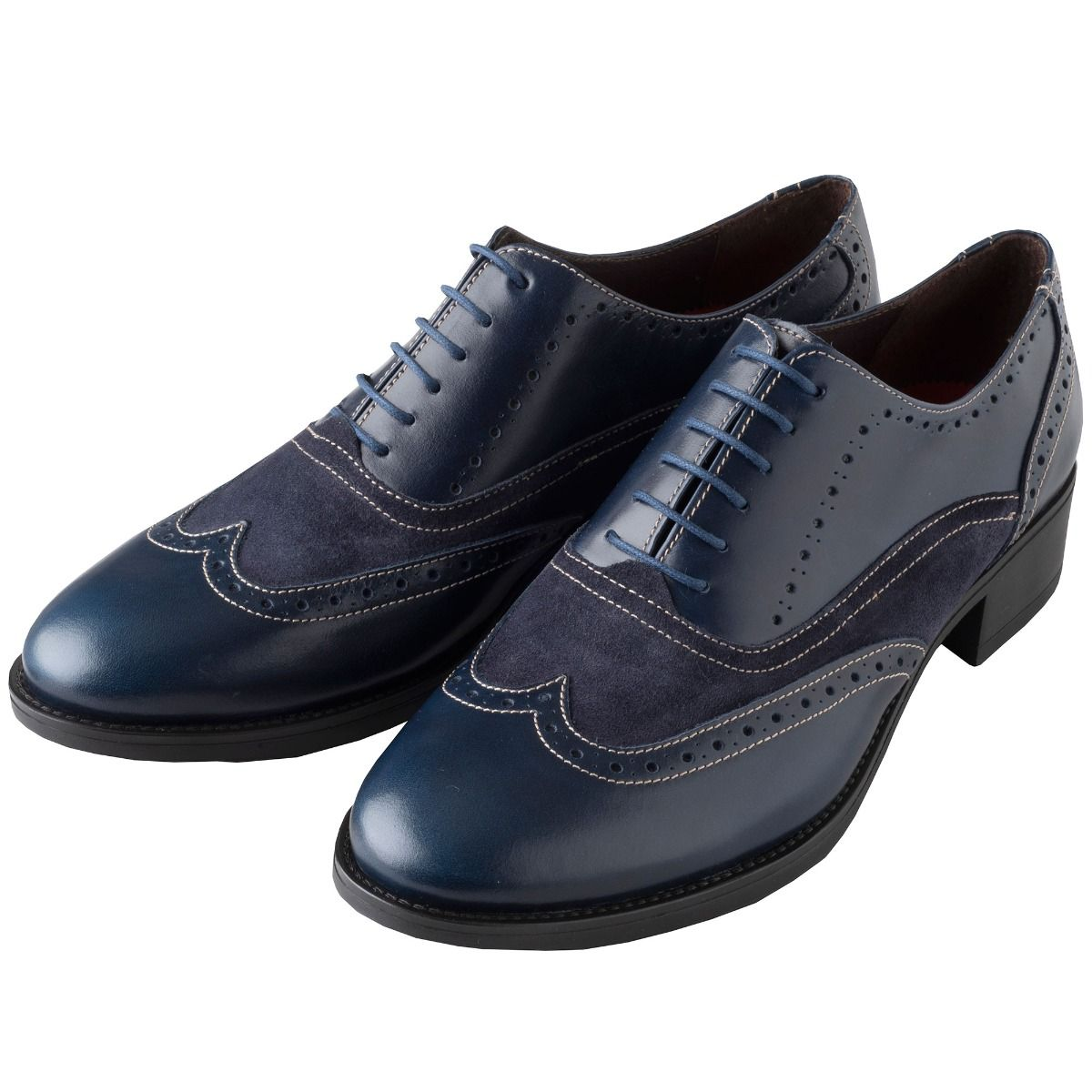Navy Leather and Suede Brogue Shoes