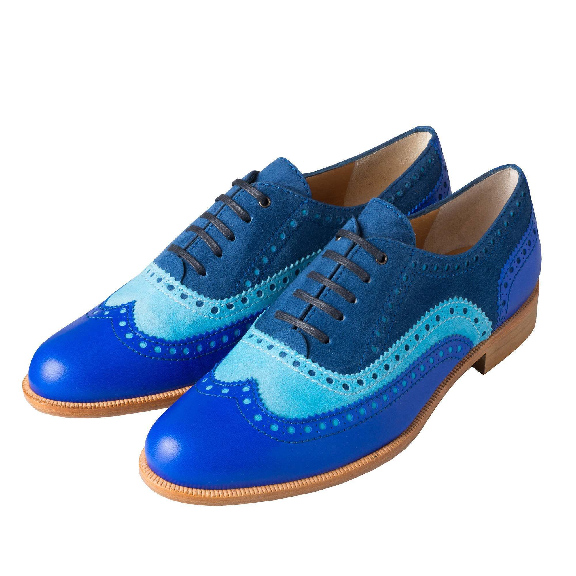 Blue Leather and Suede Brogue Shoes