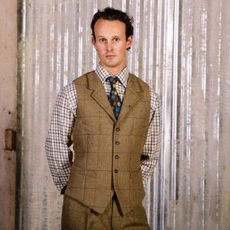 Cordings 21oz Windowpane Tweed Collared Waistcoat  Different Angle 1