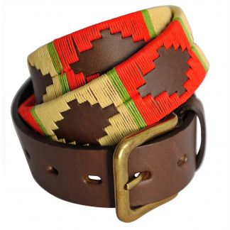 Cordings Red Cream Argentinian Polo Belt Main Image