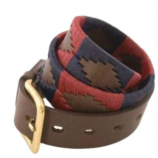 Cordings Red Navy Argentinian Polo Belt Different Angle 1
