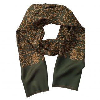 Cordings Green Hunting Paisley Silk Scarf Main Image