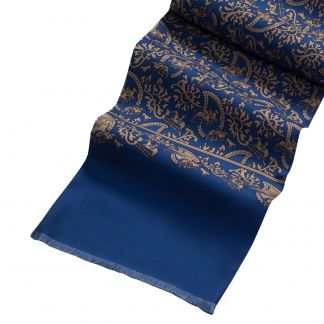 Cordings Navy Hunting Paisley Silk Scarf Different Angle 1