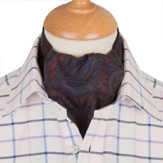 Cordings Blue Pheasant Silk Cravat Different Angle 1