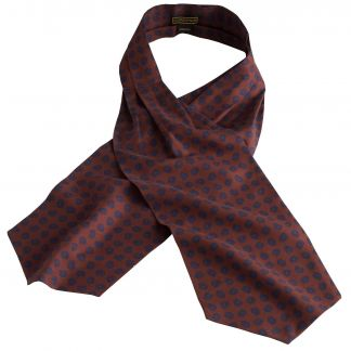 Cordings Brown Madder Geometric Silk Cravat Different Angle 1