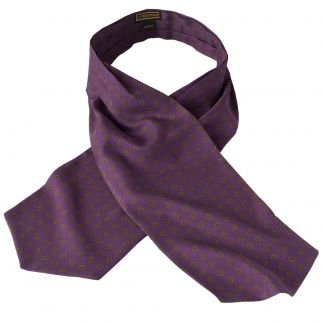 Cordings Purple Madder Geometric Silk Cravat Different Angle 1