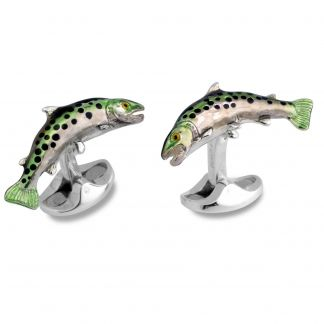 Cordings Trout Solid Silver Cufflinks Different Angle 1
