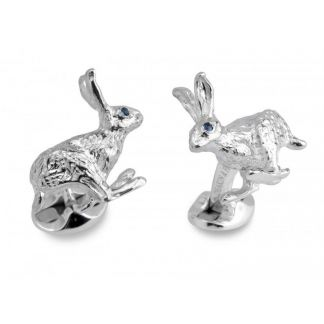Cordings Sterling Silver and Sapphire Hare Cufflinks Main Image