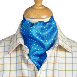 Cordings Blue 40oz Silk Spot Cravat Different Angle 1