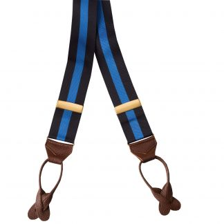 Cordings Mid Blue Striped Ribbon Braces Main Image