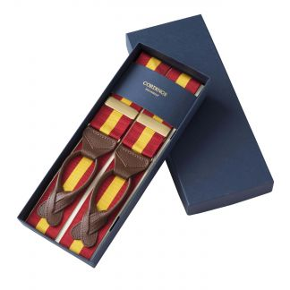 Cordings Yellow Red Coloured Ribbon Braces Different Angle 1