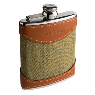 Cordings House Check British Leather 6oz Flask Main Image
