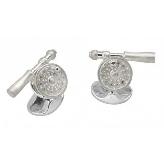 Cordings Sterling Silver Fishing Reel Cufflinks  Different Angle 1