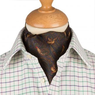 Cordings Bronze Pheasant Silk Cravat Different Angle 1