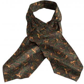 Cordings Green Pheasant Silk Cravat Main Image