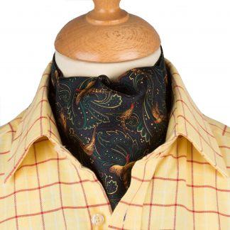 Cordings Navy Pheasant Silk Cravat Different Angle 1
