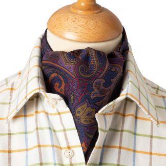 Cordings Navy Paisley Madder Silk Cravat Different Angle 1