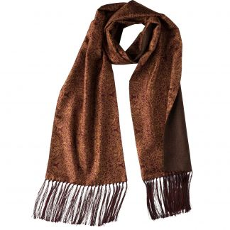 Cordings Red Engraved Scroll Silk and Cashmere Scarf Main Image