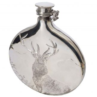 Cordings 6oz Monarch of the Glen Pewter Field Flask  Different Angle 1