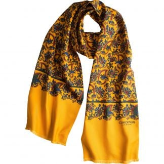 Cordings Light Gold Chasing Paisley Silk Scarf Main Image