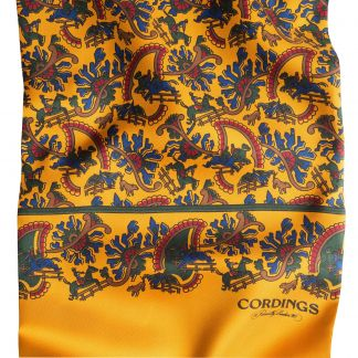Cordings Light Gold Chasing Paisley Silk Scarf Different Angle 1