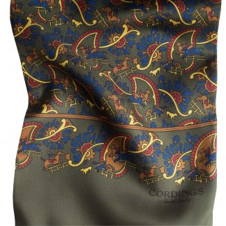 Cordings Olive Chasing Paisley Silk Scarf Different Angle 1
