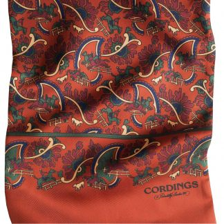 Cordings Orange Chasing Paisley Silk Scarf Different Angle 1