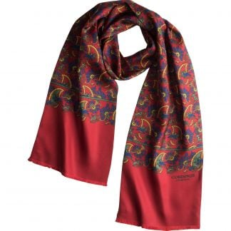 Cordings Bright Red Chasing Paisley Silk Scarf Main Image
