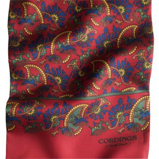 Cordings Bright Red Chasing Paisley Silk Scarf Different Angle 1