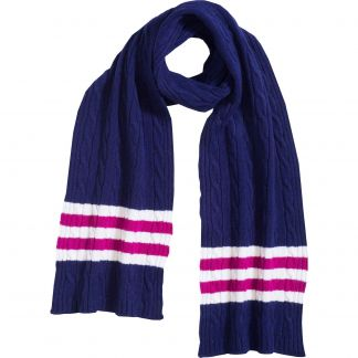 Cordings Royal Blue Cable Stripe Lambswool Scarf Main Image