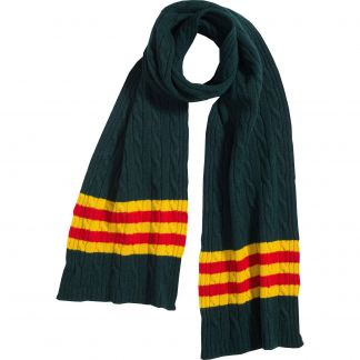 Cordings Dark Green Cable Stripe Lambswool Scarf Main Image