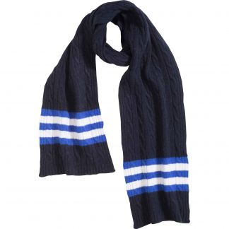 Cordings Navy Cable Stripe Lambswool Scarf Main Image