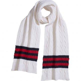 Cordings White Cable Stripe Lambswool Scarf Main Image
