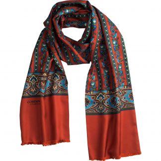 Cordings Orange English Pheasant Silk Scarf Main Image
