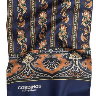 Cordings Navy English Pheasant Silk Scarf Different Angle 1