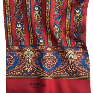 Cordings Red English Pheasant Silk Scarf Different Angle 1