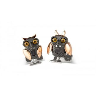 Cordings Gold Plated and Black Rhodium Movable Owl Cufflinks Main Image