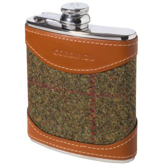Cordings Thorner Check British Leather 6oz Flask Main Image