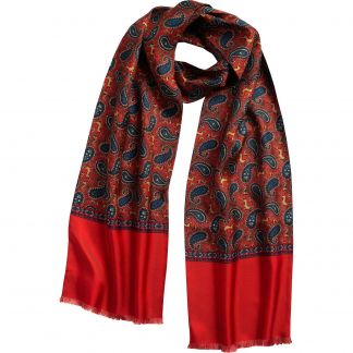 Cordings English Rust Madder Print Stag Scarf Main Image