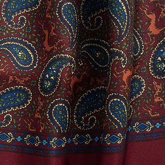 Cordings English Wine Madder Print Stag Scarf Different Angle 1