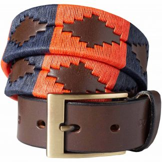 Cordings Navy Orange Windsor Argentinian Polo Belt Different Angle 1