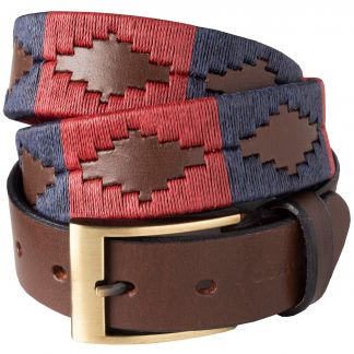 Cordings Red Navy Windsor Argentinian Polo Belt Main Image