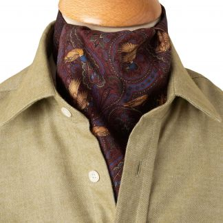 Cordings Wine Duck Silk Cravat Different Angle 1