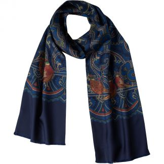 Cordings English Madder Print Navy Silk Scarf  Different Angle 1