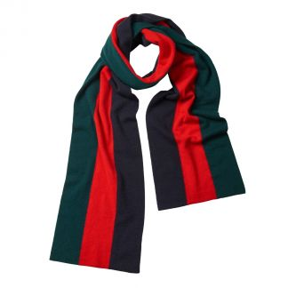 Cordings Green Red Navy Cashmere College Scarf Main Image