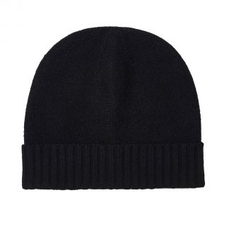 Cordings Black 4 Ply Cashmere Beanie Hat Main Image
