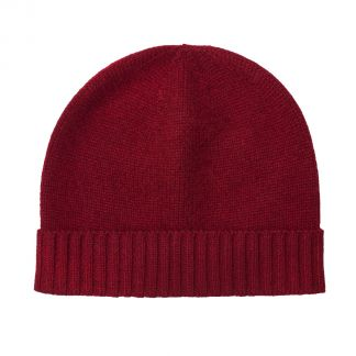 Cordings Bordeaux 4 Ply Cashmere Beanie Hat Main Image
