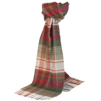 Cordings Red and Green Tartan Lambswool Scarf Main Image